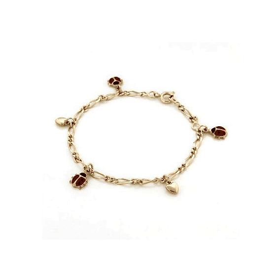 Bracelet charms coccinelles et coeurs plaqué or - La Petite Française
