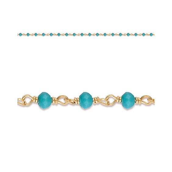 Collier enfant cristal bleu plaqué or - La Petite Française