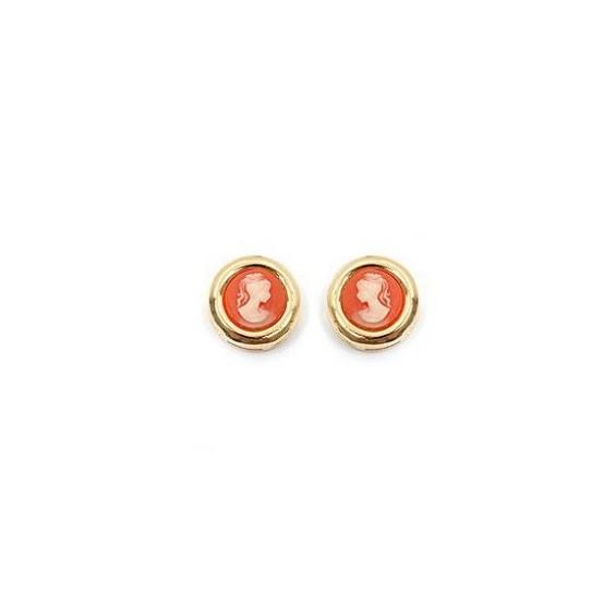 Boucles d'oreilles camées corail rondes plaqué or - La Petite Française