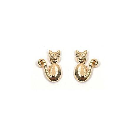 Boucles d'oreilles chats plaqué or - La Petite Française