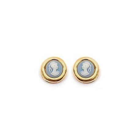 Boucles d'oreilles camées bleus rondes plaqué or - La Petite Française