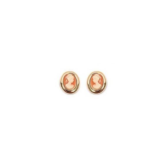 Boucles d'oreilles camées corail ovale plaqué or - La Petite Française