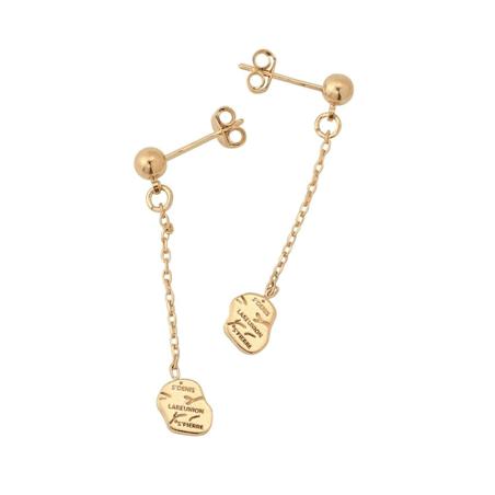 Boucles d'oreilles carte Réunion pendantes plaqué or - La Petite Française