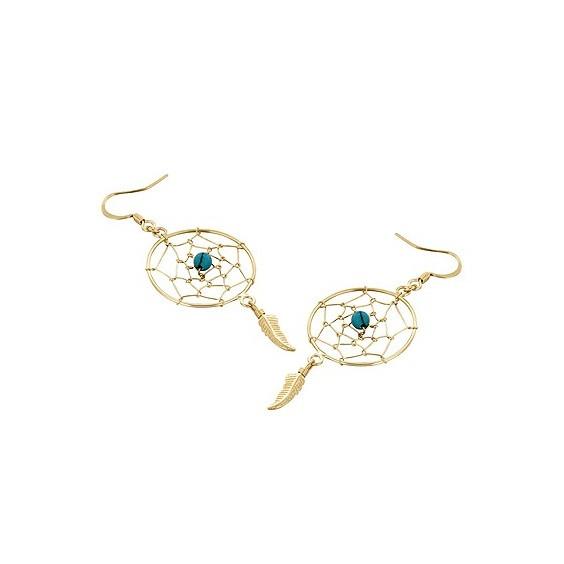 Boucles d'oreilles attrape-rêve plume plaqué or et turquoise - La Petite Française