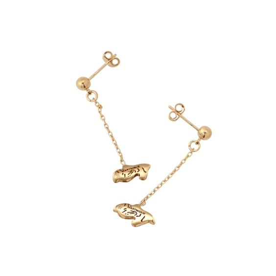 Boucles d'oreilles carte Martinique pendantes plaqué or - La Petite Française