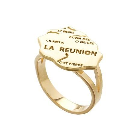 Bague carte Réunion plaqué or - La Petite Française