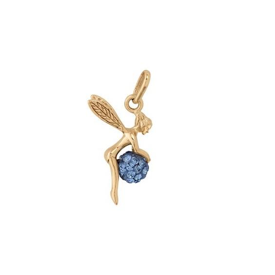 Pendentif fée boule cristal bleu plaqué or - La Petite Française