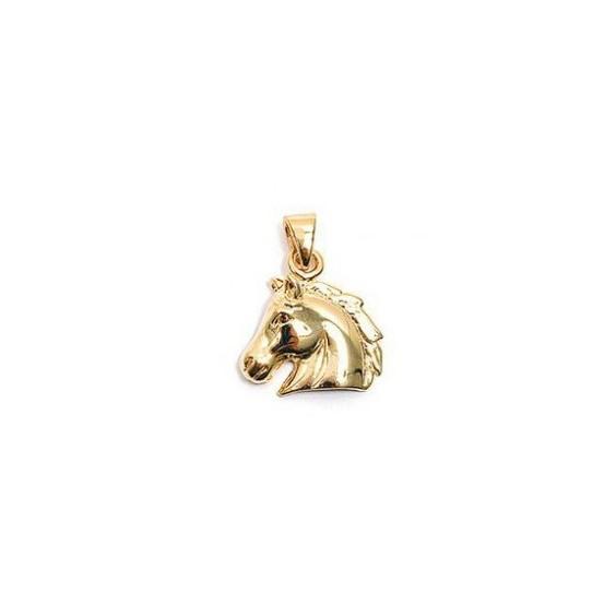 Pendentif tête de cheval plaqué or - La Petite Française