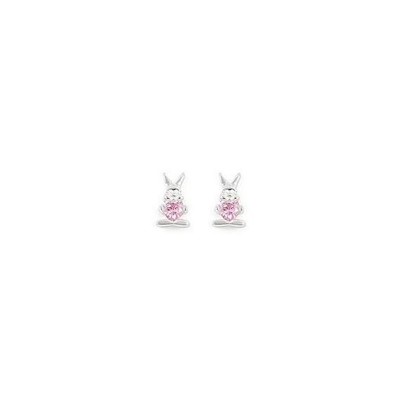 Boucles d'oreilles lapins coeur rose argent - La Petite Française