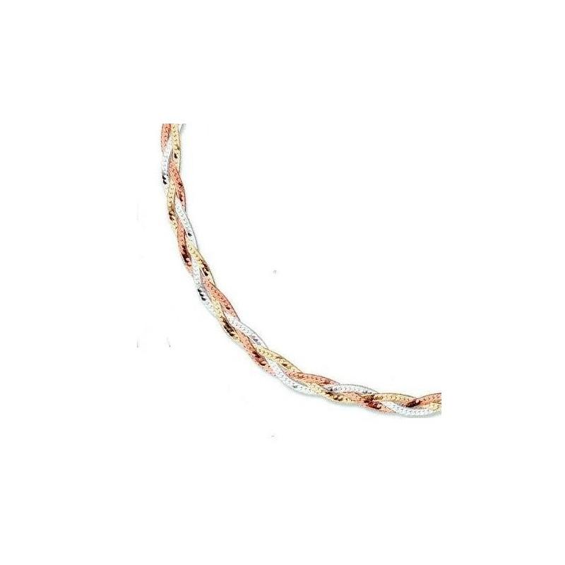 Bracelet 3 tresses, 3 tons argent - La Petite Française