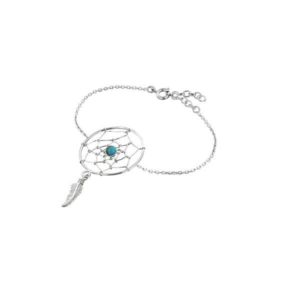 Bracelet attrape-rêve plume argent et turquoise - La Petite Française