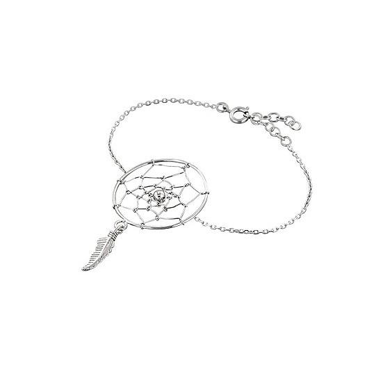 Bracelet attrape-rêve plume argent - La Petite Française
