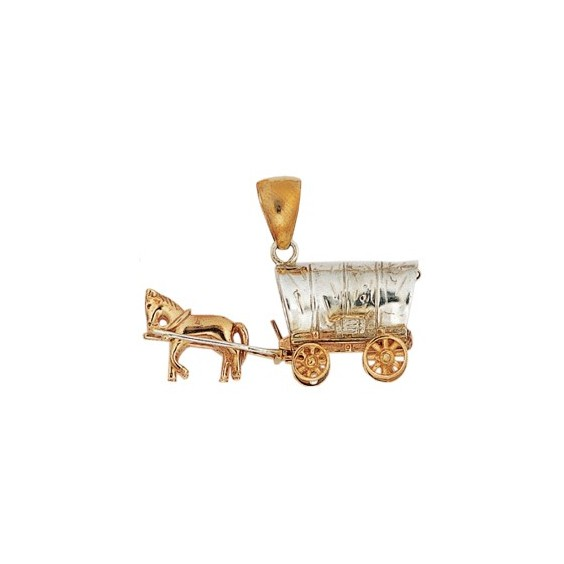 Pendentif chariot de far-west en argent et bronze - La Petite Française