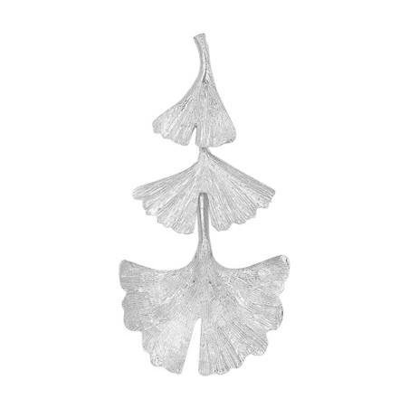 Pendentif Ginkgo biloba 3 feuilles argent - La Petite Française