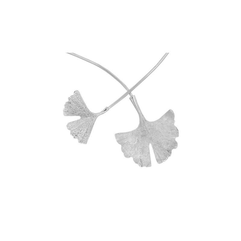 Collier Ginkgo biloba 2 feuilles argent - La Petite Française