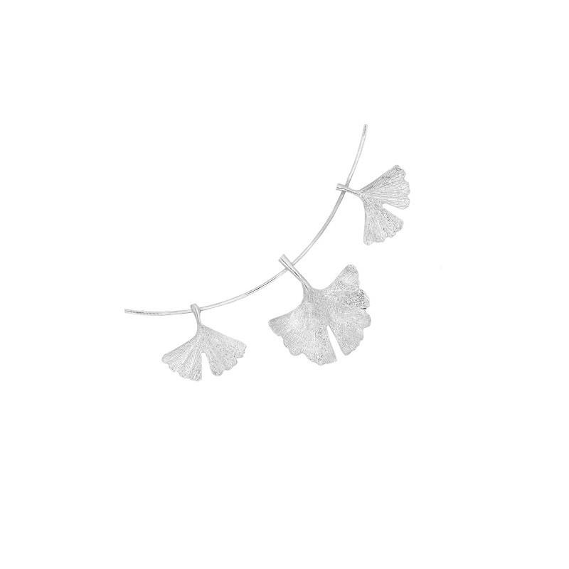 Collier Ginkgo biloba 3 feuilles argent - La Petite Française