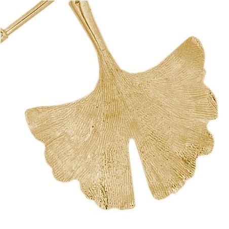 Collier Ginkgo biloba 2 feuilles Or 18 carats jaune - La Petite Française