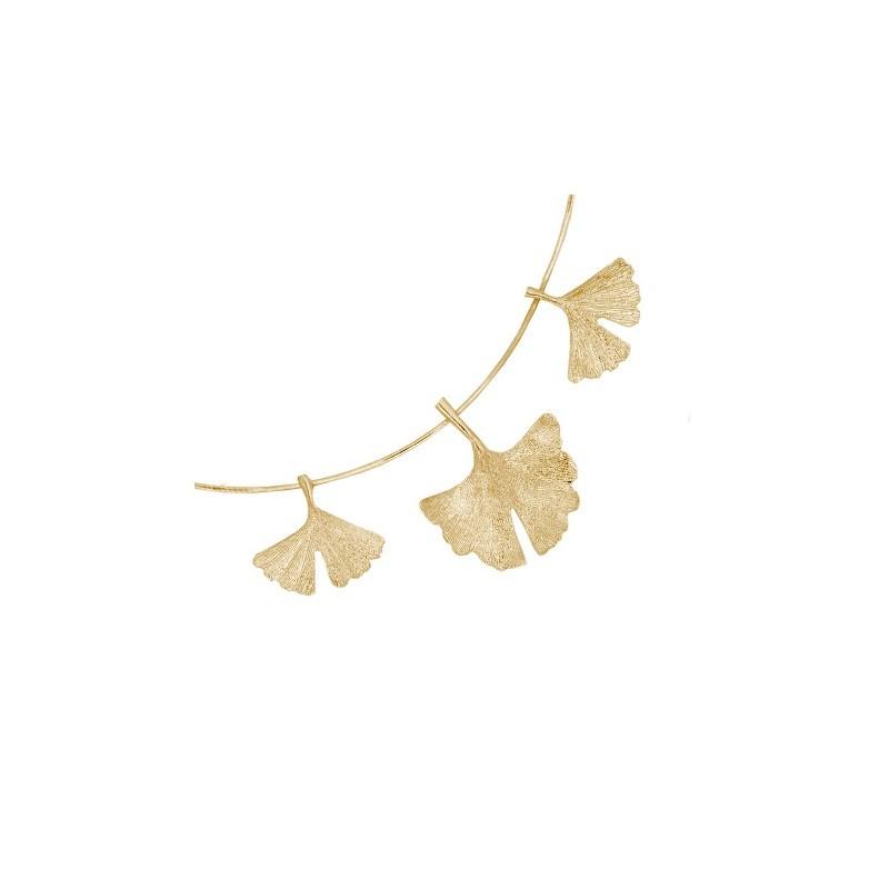 Collier Ginkgo biloba 3 feuilles Or 18 carats jaune - La Petite Française