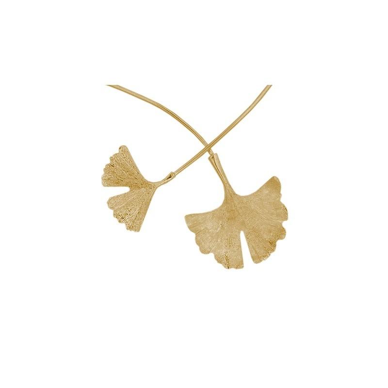 Collier Ginkgo biloba 2 feuilles plaqué or - La Petite Française