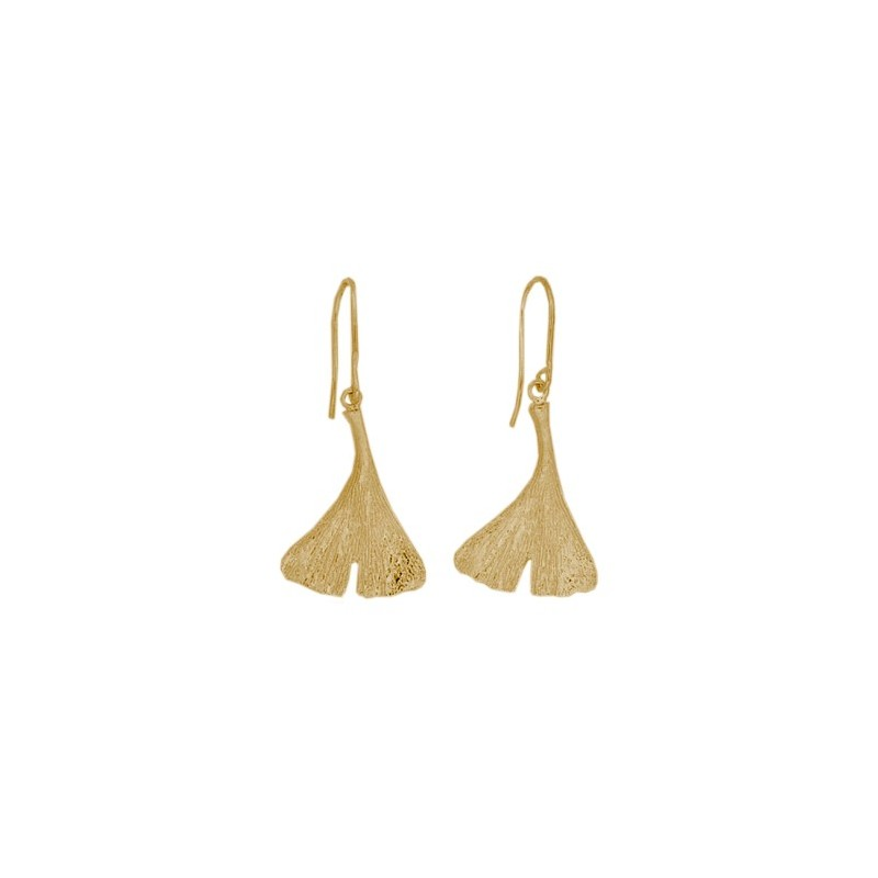 Boucles d'oreilles pendantes Ginkgo biloba plaqué or - La Petite Française