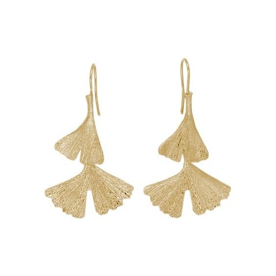 Boucles d'oreilles pendantes Ginkgo biloba 2 feuilles plaqué or - La Petite Française