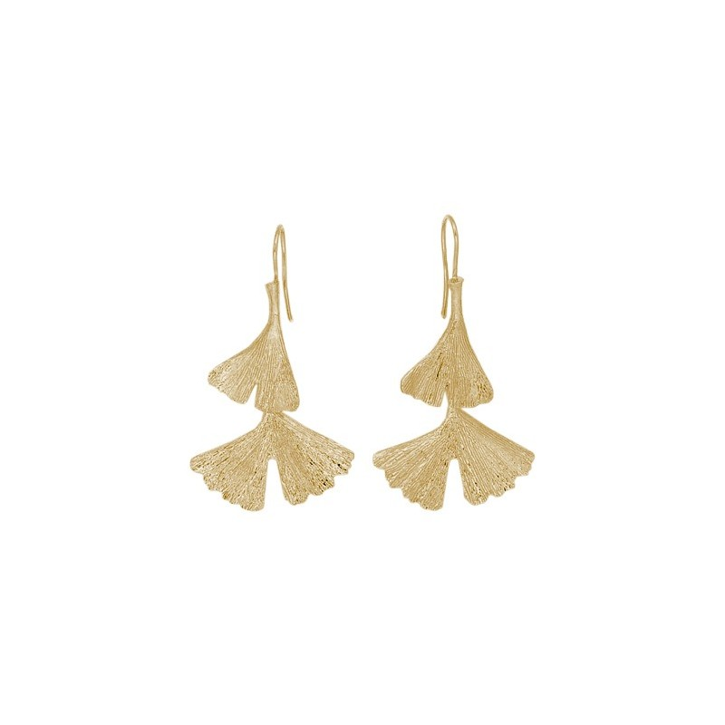 Boucles d'oreilles pendantes Ginkgo biloba 2 feuilles Or 18 carats - La Petite Française