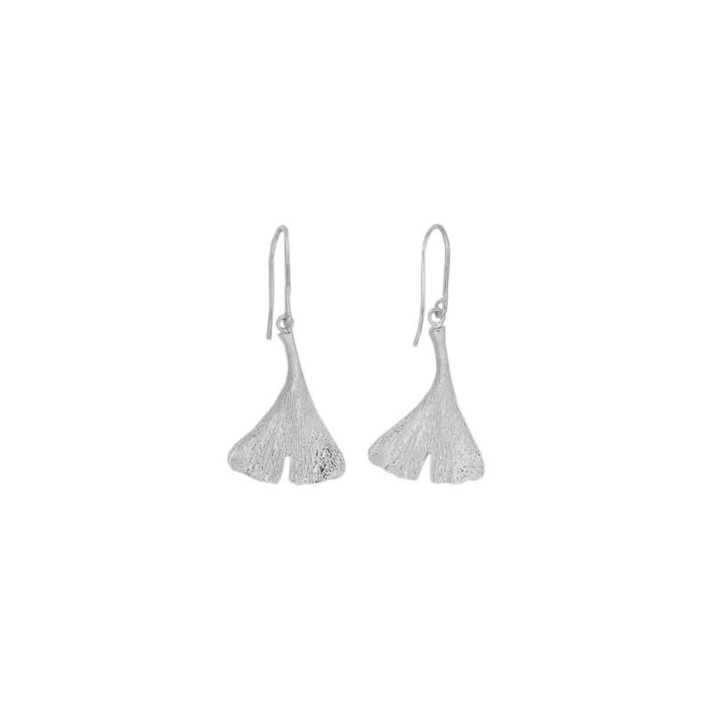 Boucles d'oreilles pendantes Ginkgo biloba argent - La Petite Française
