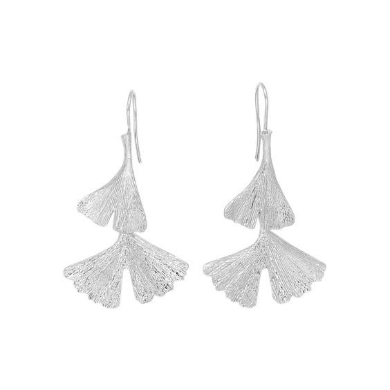 Boucles d'oreilles pendantes Ginkgo biloba 2 feuilles argent - La Petite Française