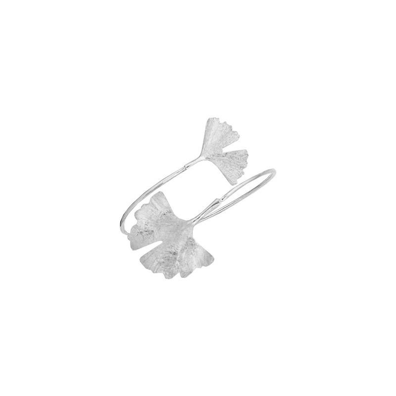 Bracelet Ginkgo biloba 2 feuilles argent - La Petite Française