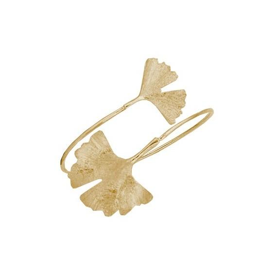 Bracelet Ginkgo biloba 2 feuilles plaqué or - La Petite Française