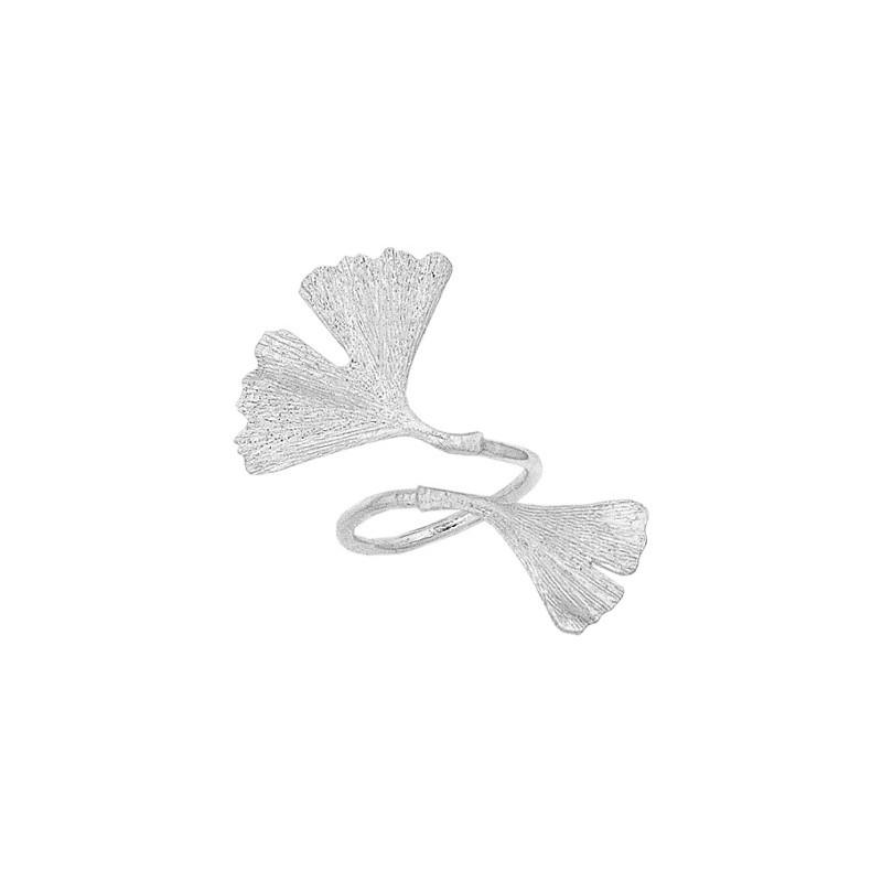Bague Ginkgo biloba 2 feuilles argent - La Petite Française