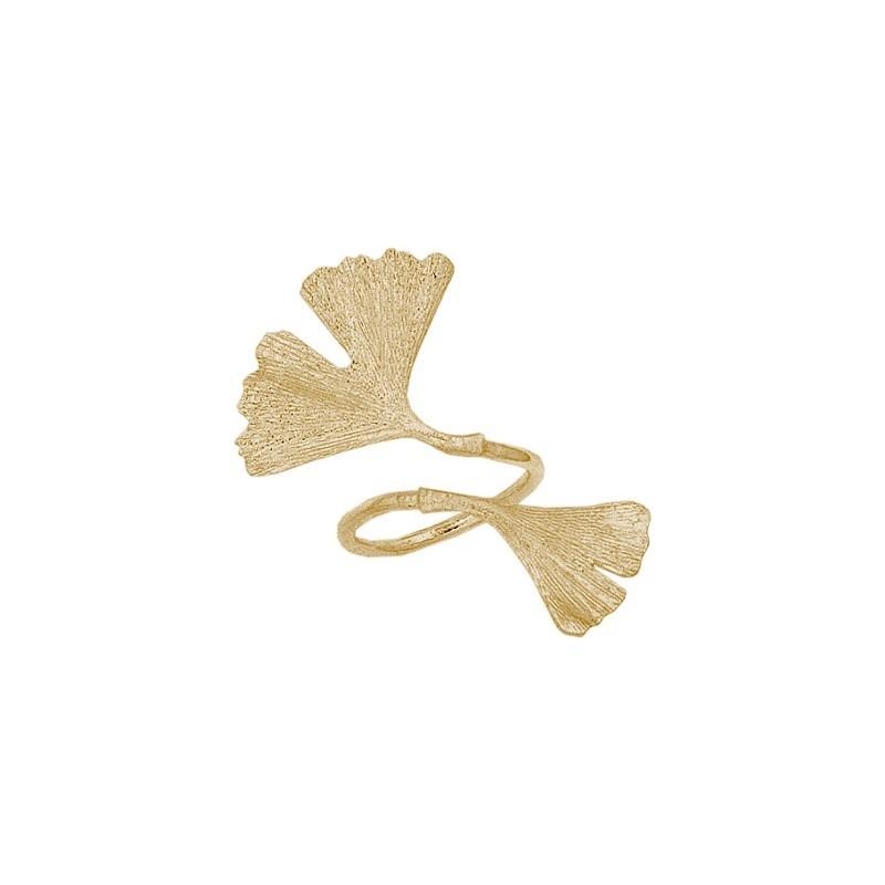 Bague Ginkgo biloba 2 feuilles plaqué or - La Petite Française