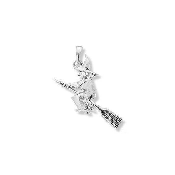 Pendentif sorcière sur son balai GM Or 9 carats gris - La Petite Française