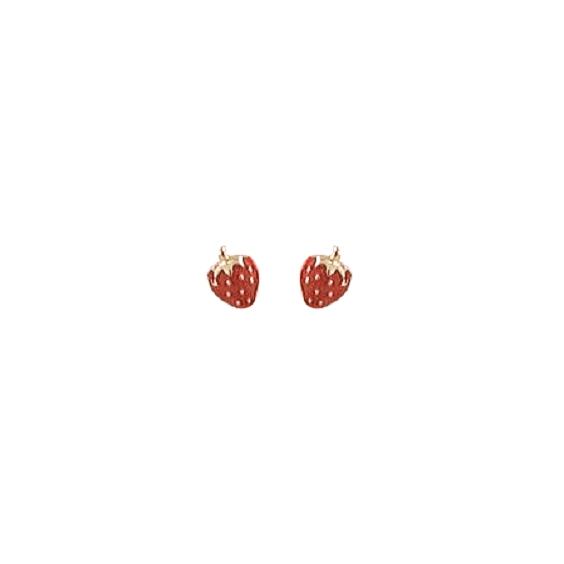 Boucles d'oreilles fraise Or 18 carats - La Petite Française
