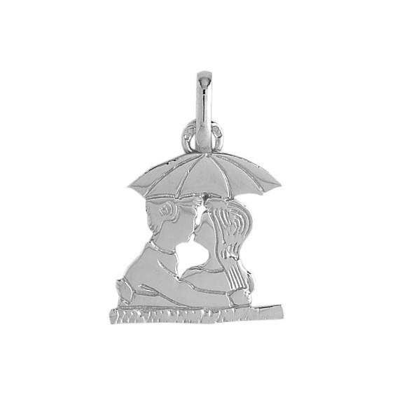Pendentif amoureux sous parapluie Or 18 carats gris - La Petite Française
