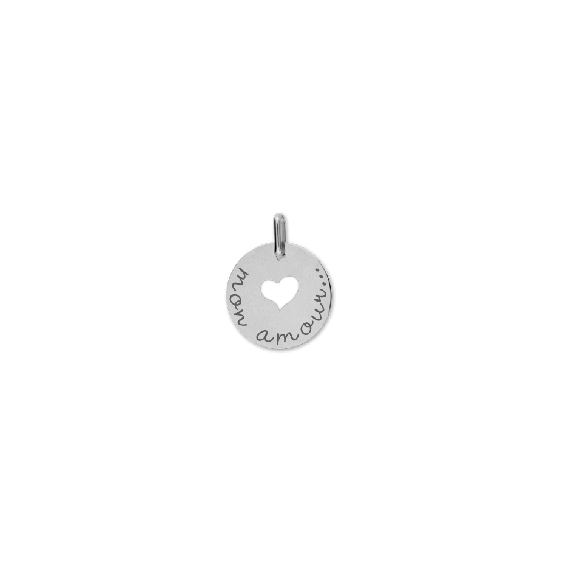 Pendentif Mon amour Or 18 carats gris - La Petite Française