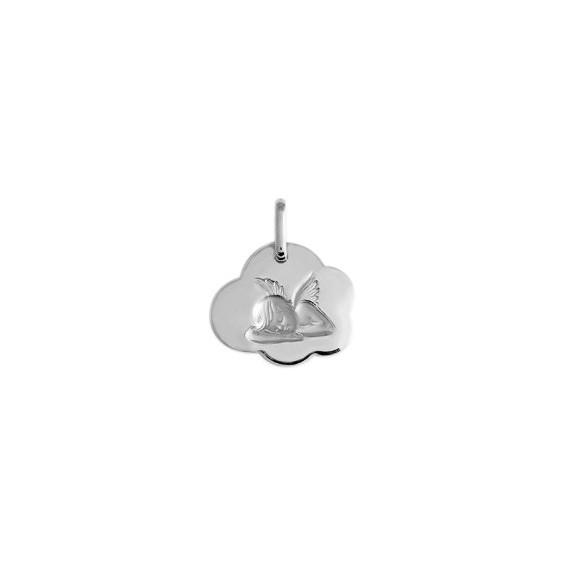 Médaille ange nuage Or 18 carats gris - 15 mm - La Petite Française