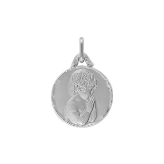 Médaille enfant en prière - 16 mm - Or 18 carats gris - La Petite Française