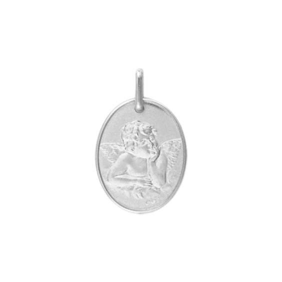 Médaille ange de Raphaël 17 x 13 mm Or 18 carats gris - La Petite Française