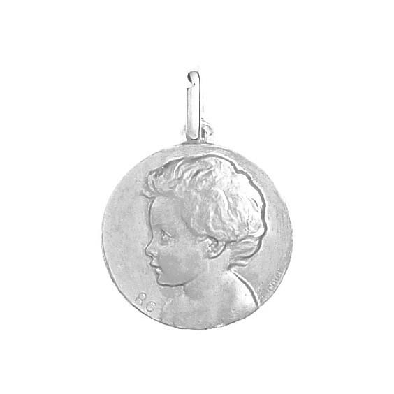Médaille enfant - 20 mm - Or 18 carats gris - La Petite Française