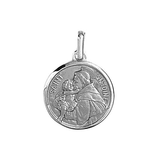 Médaille Saint Antoine - 18 mm - Or 18 carats gris - La Petite Française