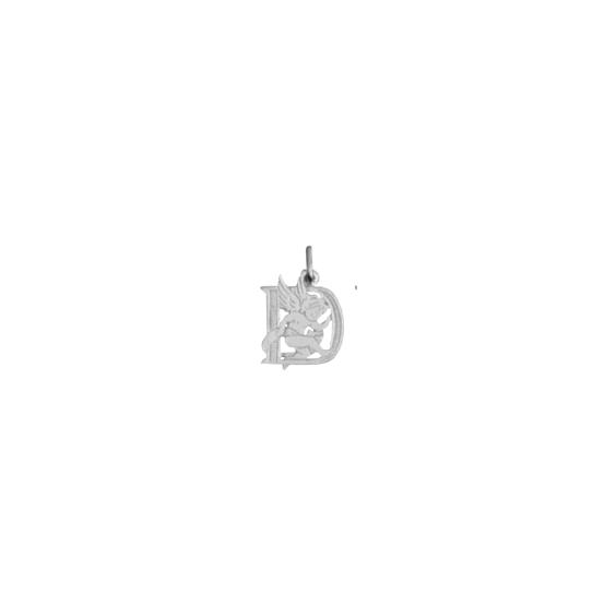 Pendentif ange lettre D Or 18 carats gris - La Petite Française