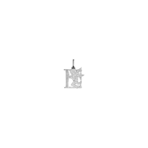 Pendentif ange lettre E Or 18 carats gris - La Petite Française