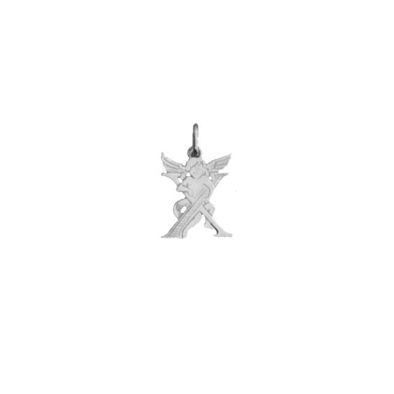 Pendentif ange lettre X Or 18 carats gris - La Petite Française