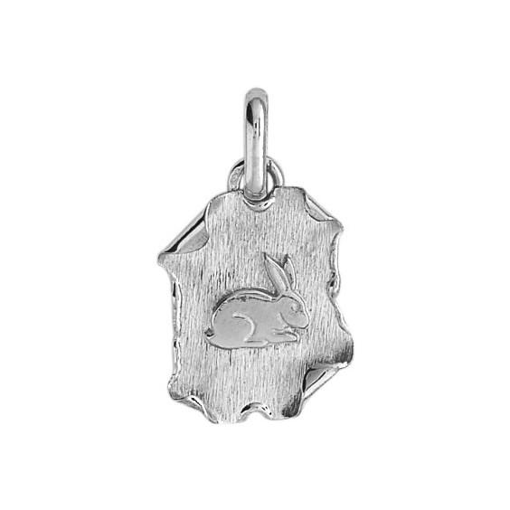 Médaille lapin parchemin Or 18 carats gris - La Petite Française