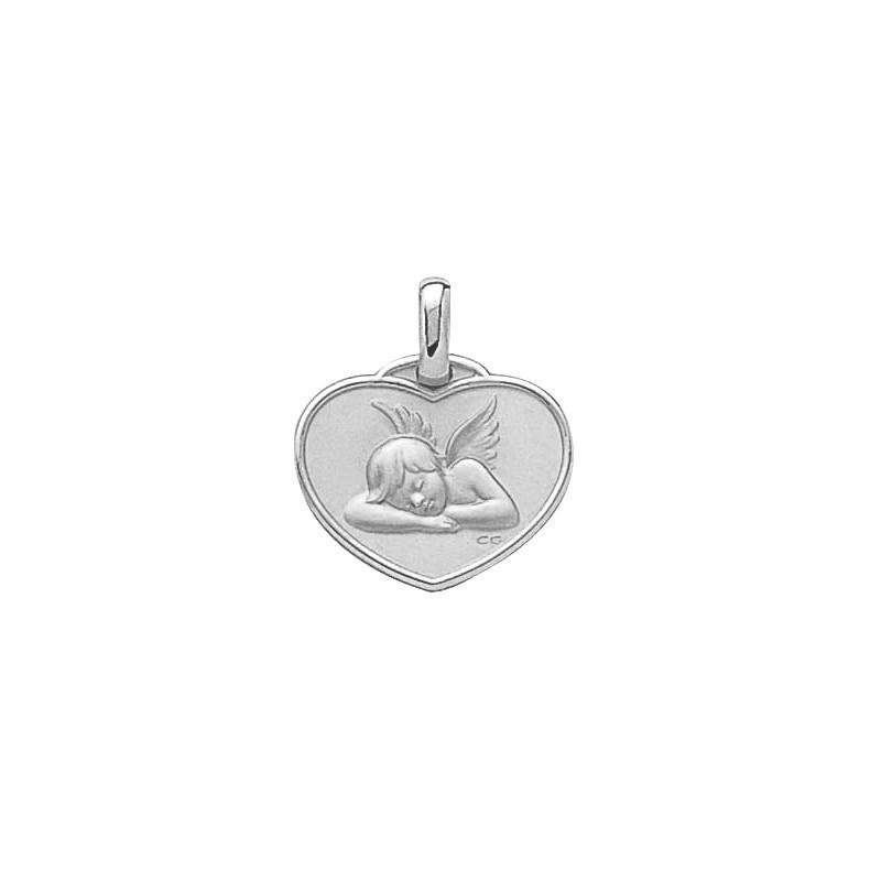 Médaille ange Raphaël coeur Or 18 carats gris - La Petite Française