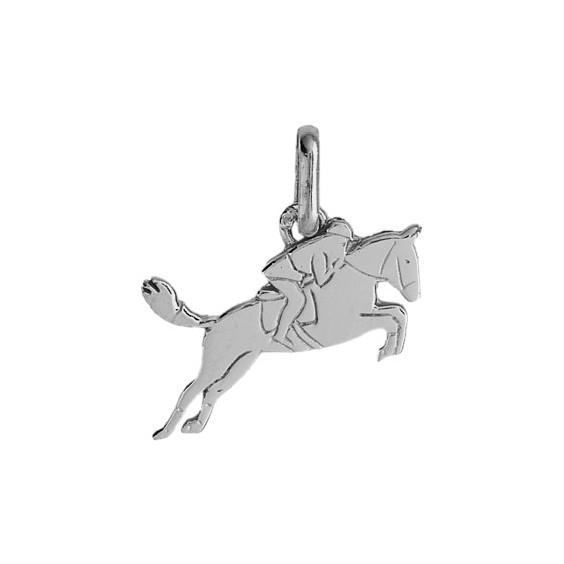 Pendentif cheval et cavalier Or 18 carats gris - La Petite Française