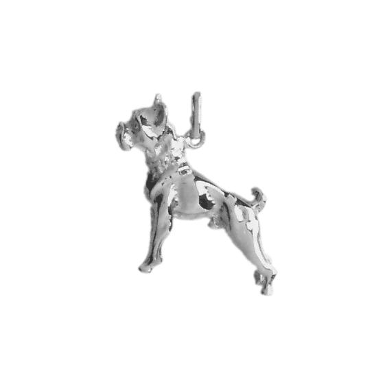 Pendentif chien Boxer Or 18 carats gris - 23 MM - La Petite Française