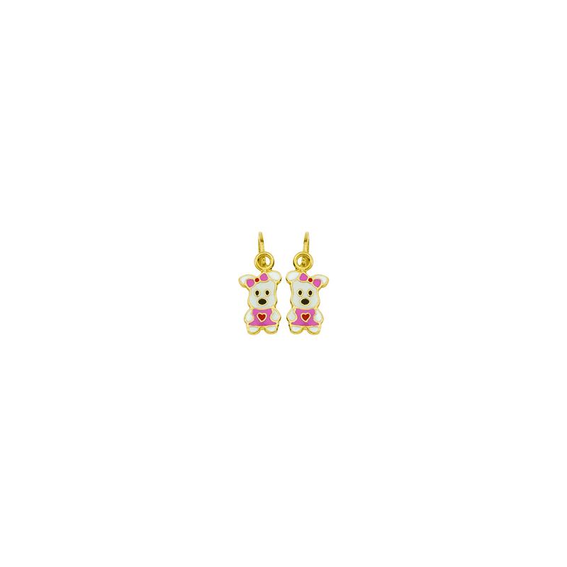 Boucles d'oreilles pendantes chiots roses Or 18 carats - La Petite Française