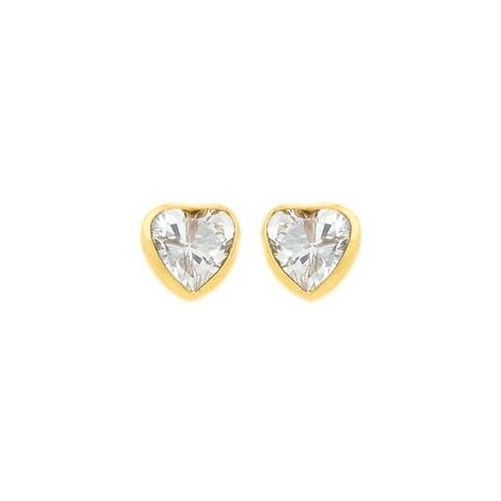 Boucles d'oreilles coeur zirconiums Or 9 carats jaune - La Petite Française
